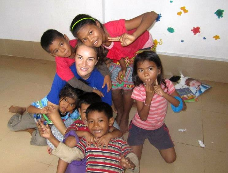 Picture: children with volunteers